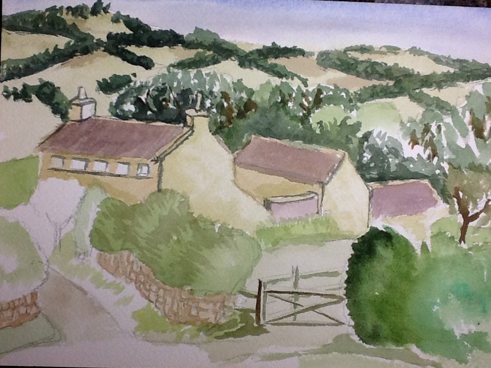 watercolor sketch of hills and buildings and a fence