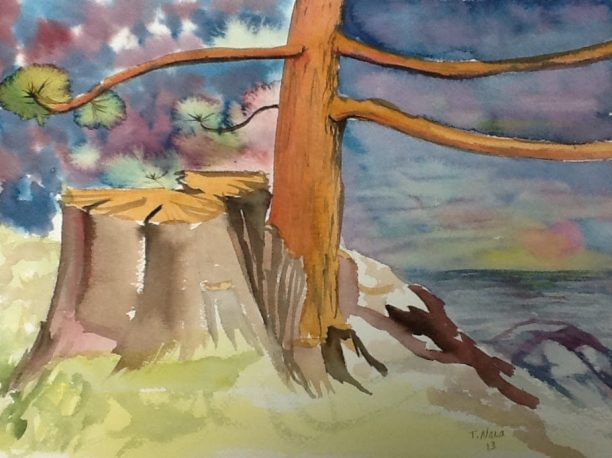 painting of a young pine tree growing from an old stump.