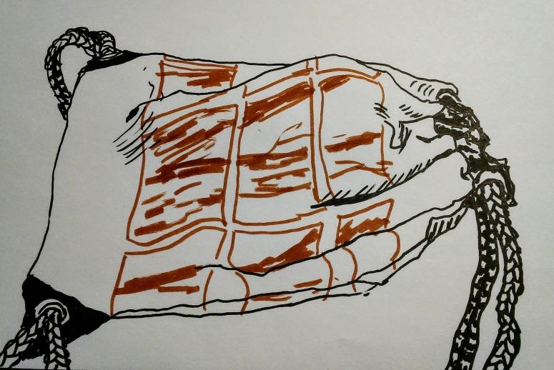 sketch of drawstring backpack