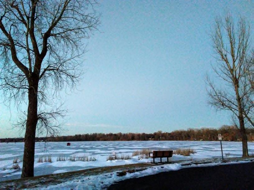 frozen lake, bench, fish house