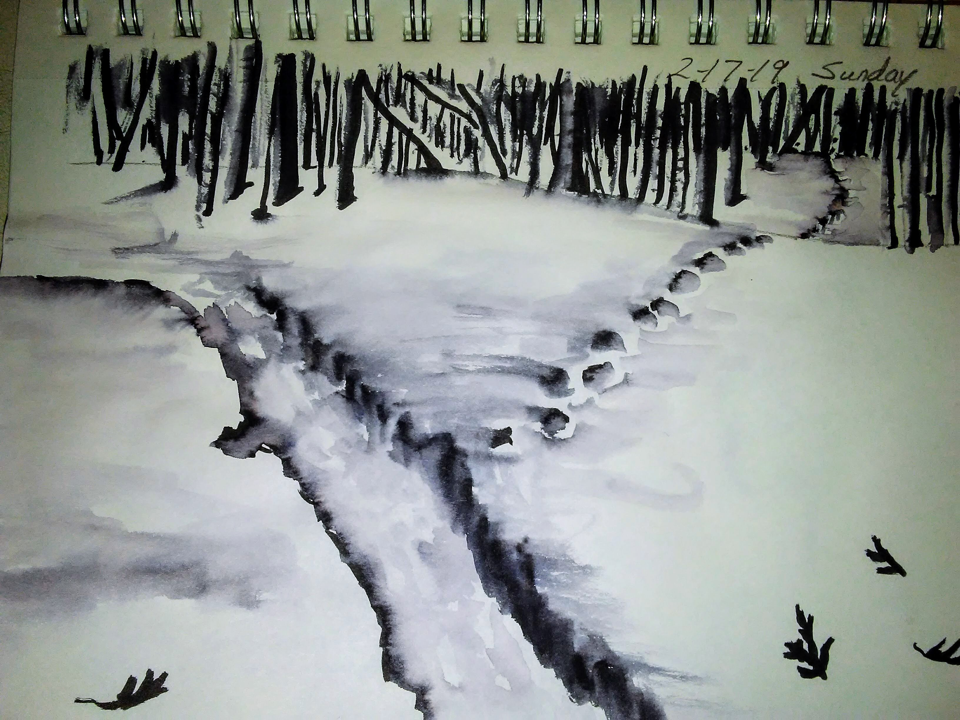 watercolor sketch in black and white of a snowy path
