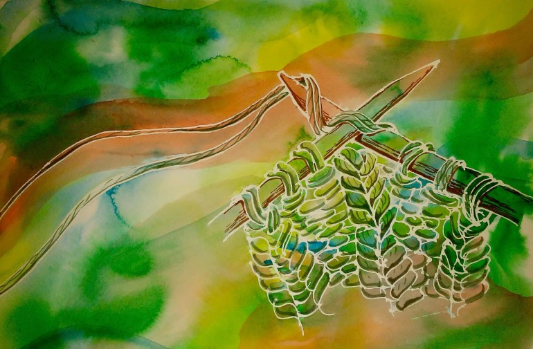 watercolor of knitting needles and string with an abstract green background