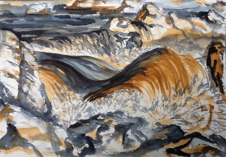 Mostly blue-gray and brown painting of water rushing over rocks.