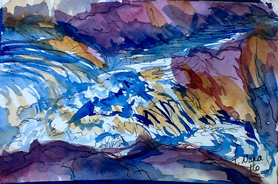 abstract water rushing over rocks. mostly purple and tan colors.