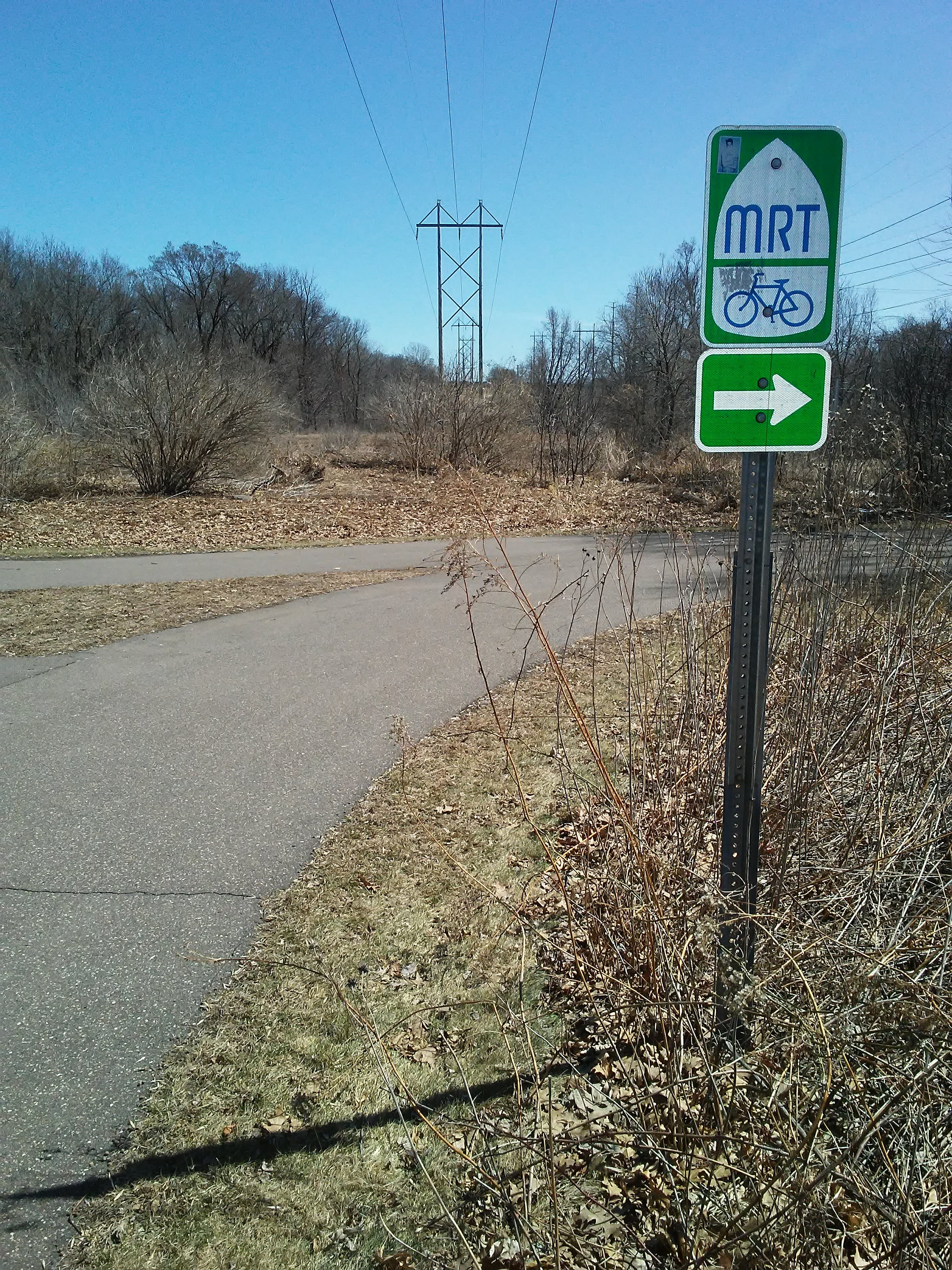 MRT Bike Trail sign and paved trail