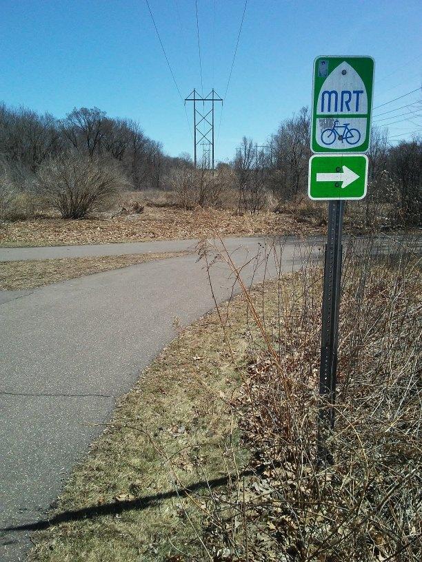 MRT Bike Trail sign and paved trail