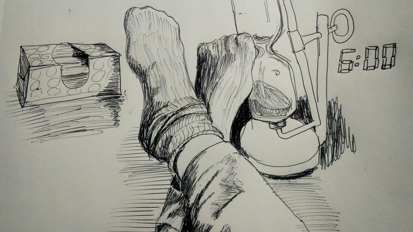 black line drawing of feet in socks, an hourglass, digital clock numbers and a tissue box.