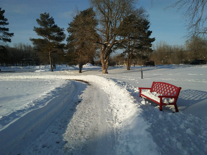 snow cleared from a trail. a red bench with diamond pattern.