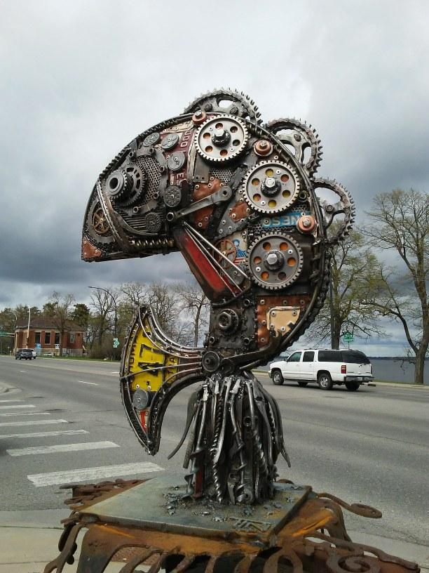 metal sculpture of a fish