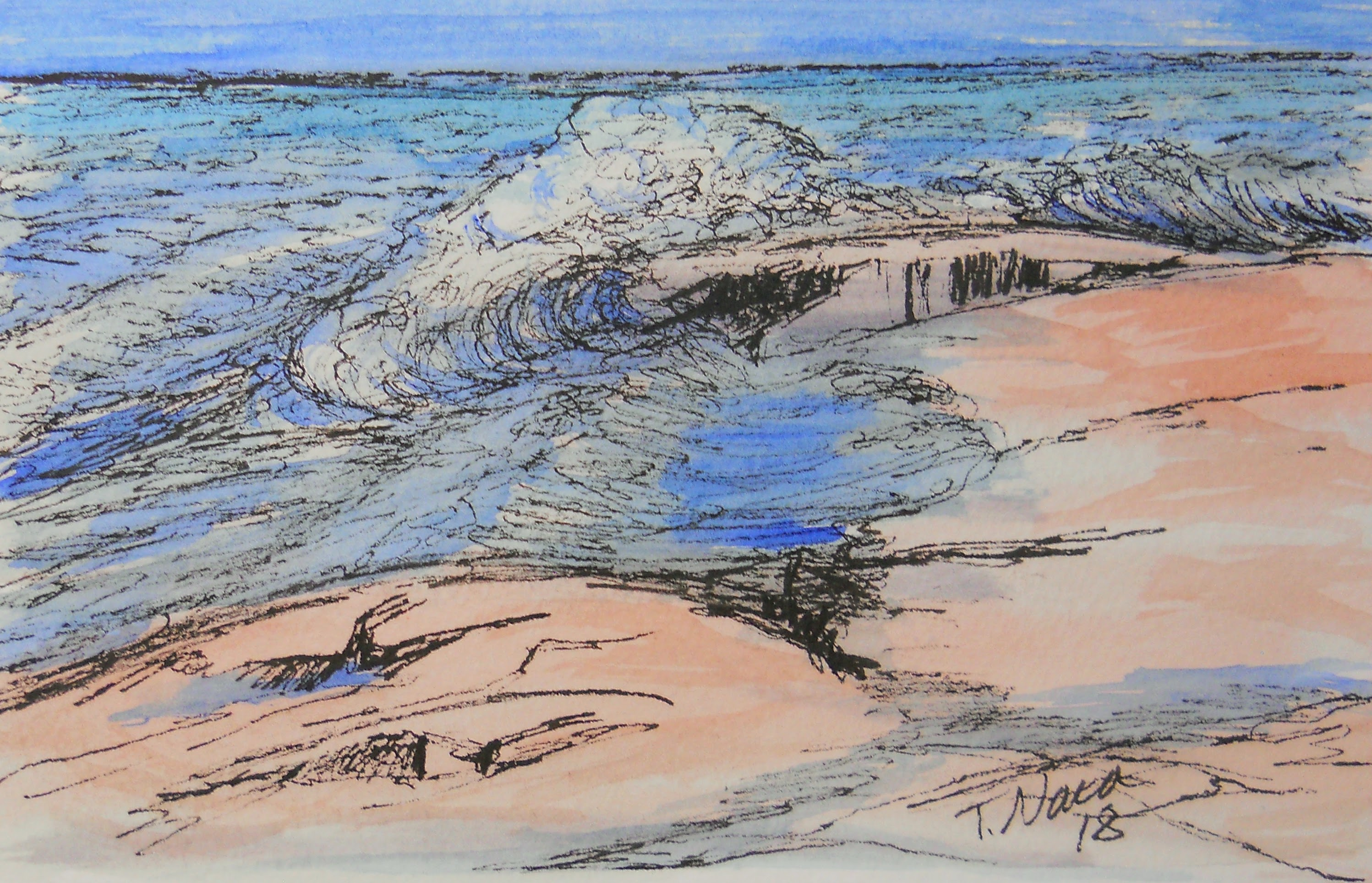 Ink drawing with watercolor wash of waves and rocks.
