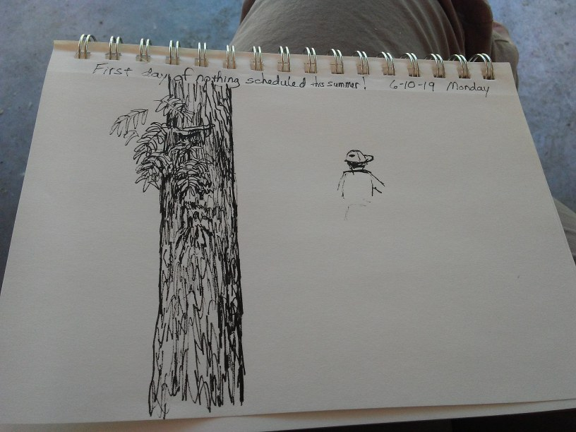 sketch of a tree and a person