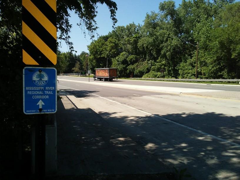4 land street, a truck, a sign