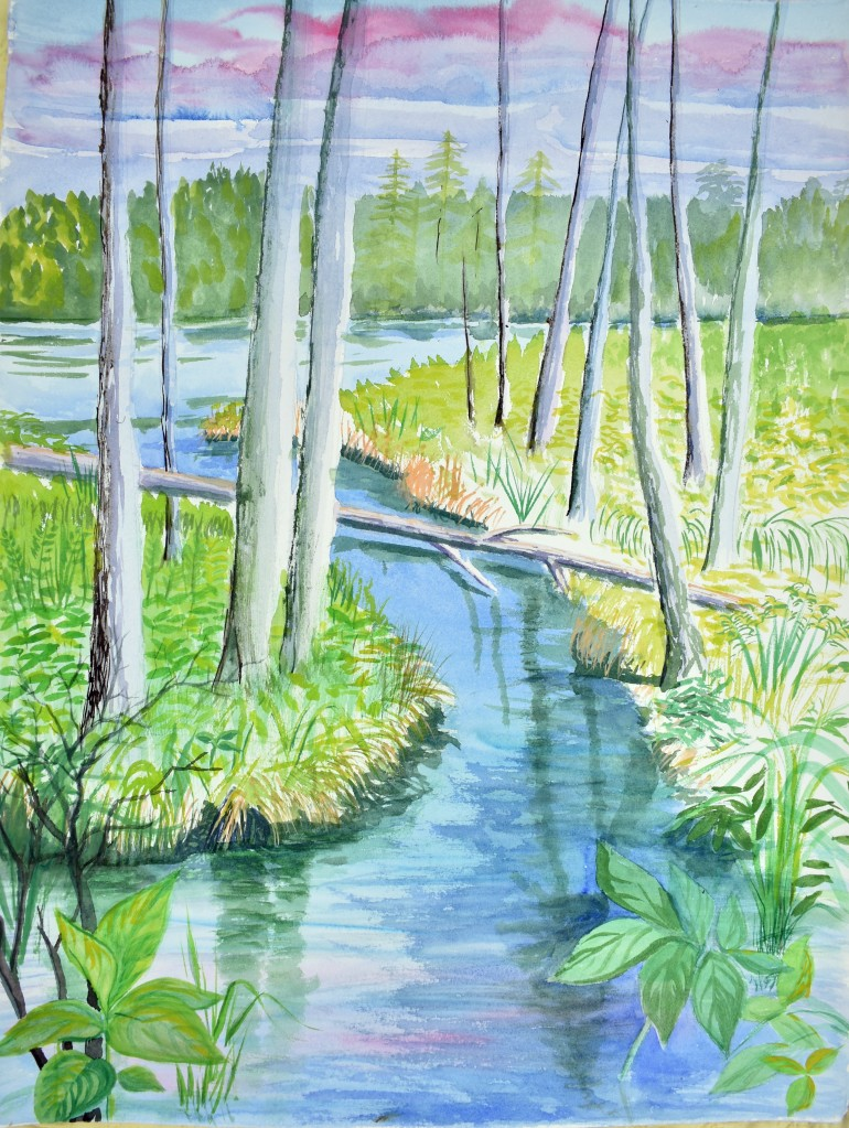forest scene painting with a small stream.