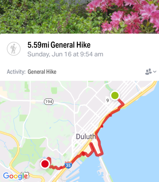 map of Duluth with a red line to indicate the trail