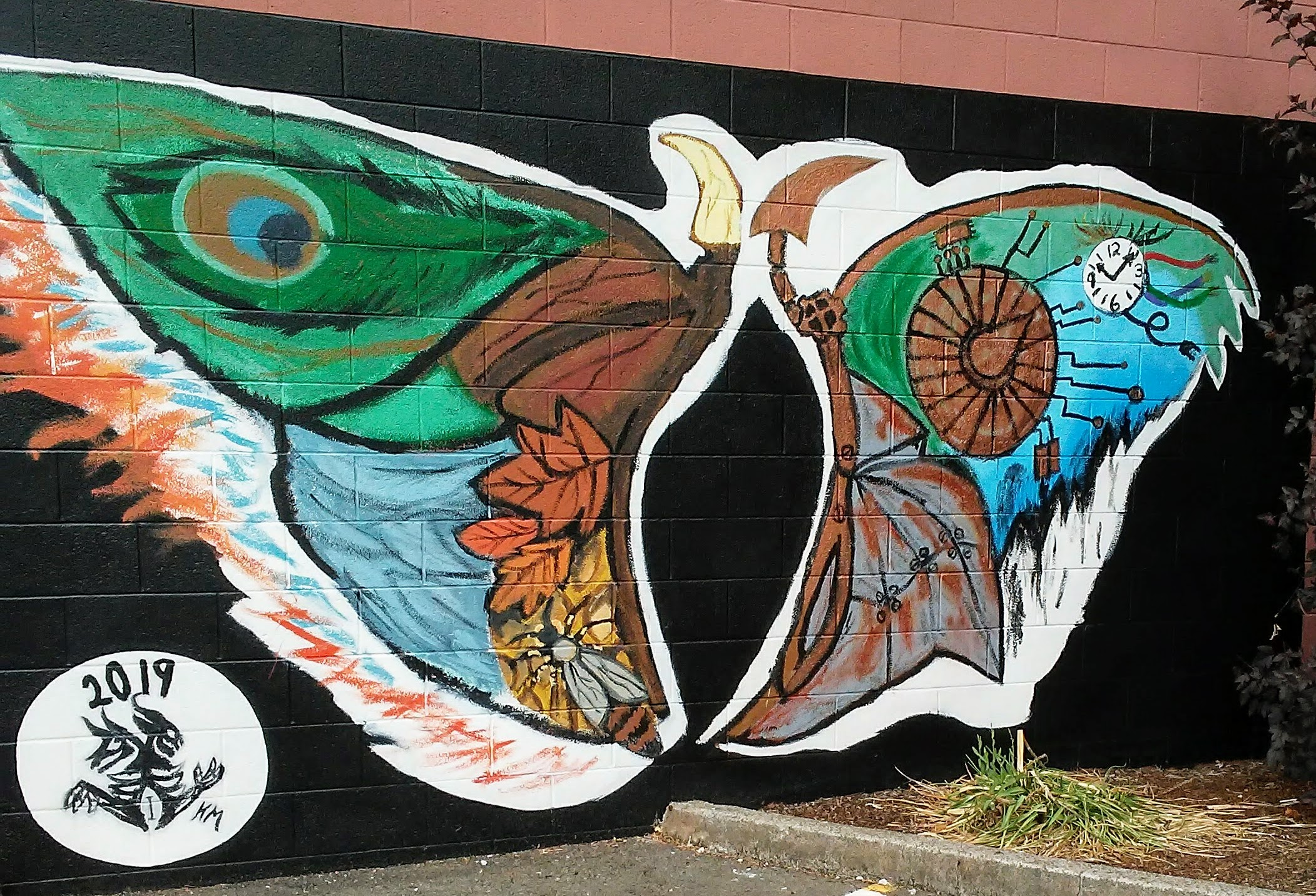 mural of butterfly wings