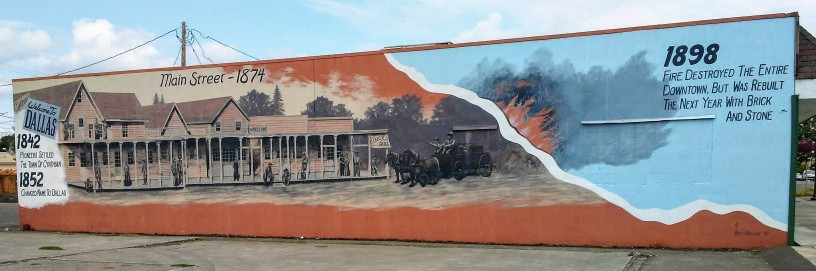 mural depicting the fire of 1898 in Dallas, Oregon