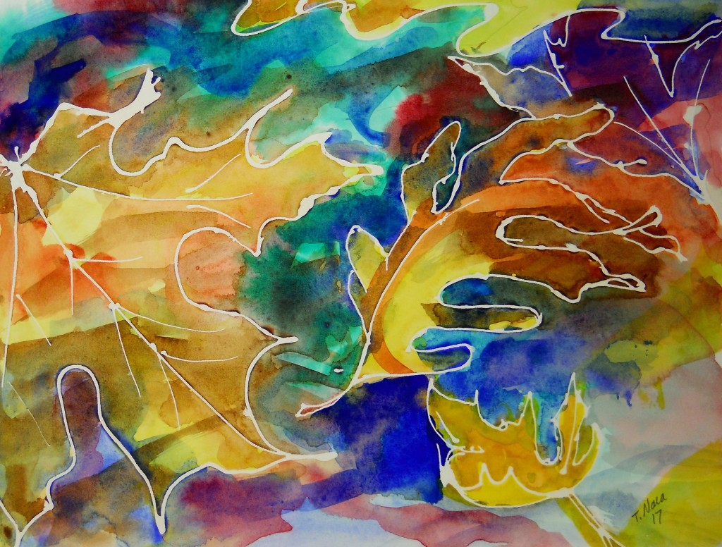 leaves outlined in white on an abstract colorful background