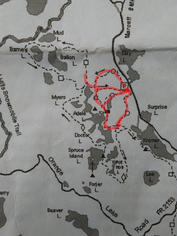highlighted trail map