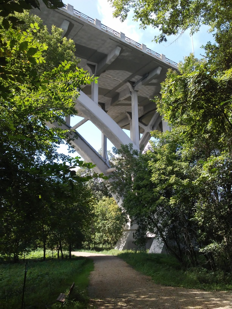 trail going under a freeway structure