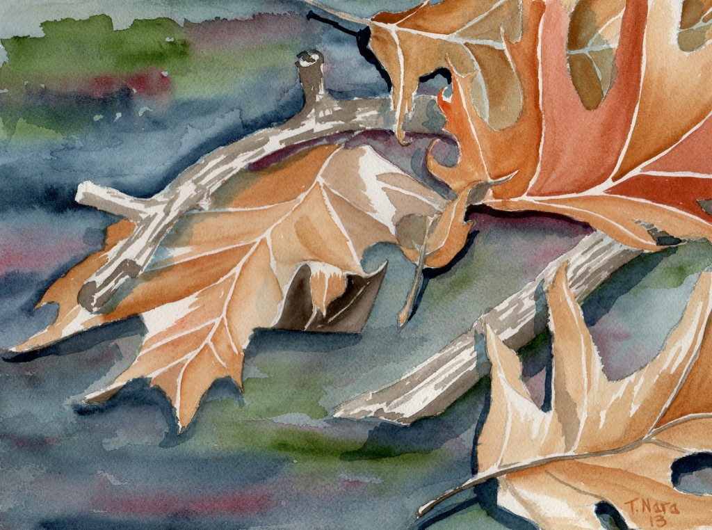 painting of oak leaves on an abstract blue, gray, and green background