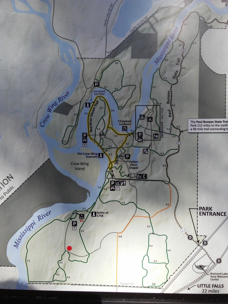 official trail map of Crow Wing State Park in Minnesota