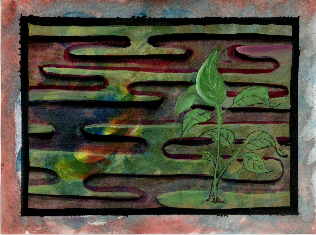 horizontal curved lines, seedling plant