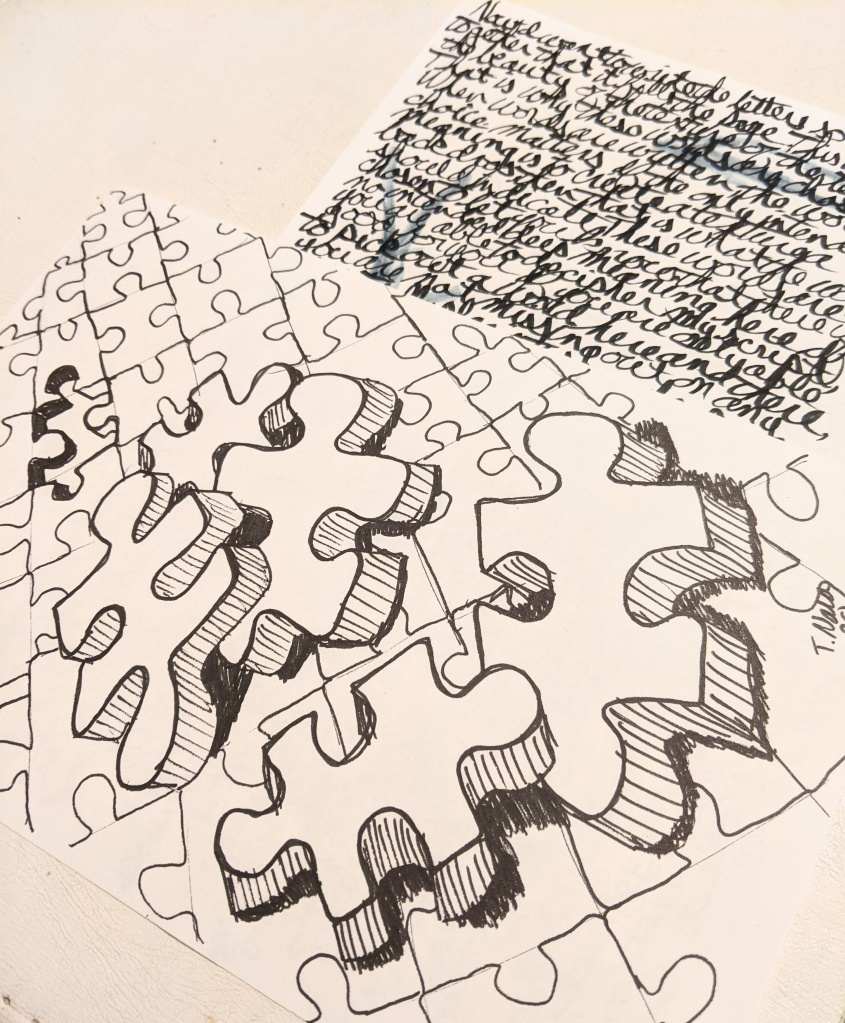 drawing of puzzle pieces and meaningless text