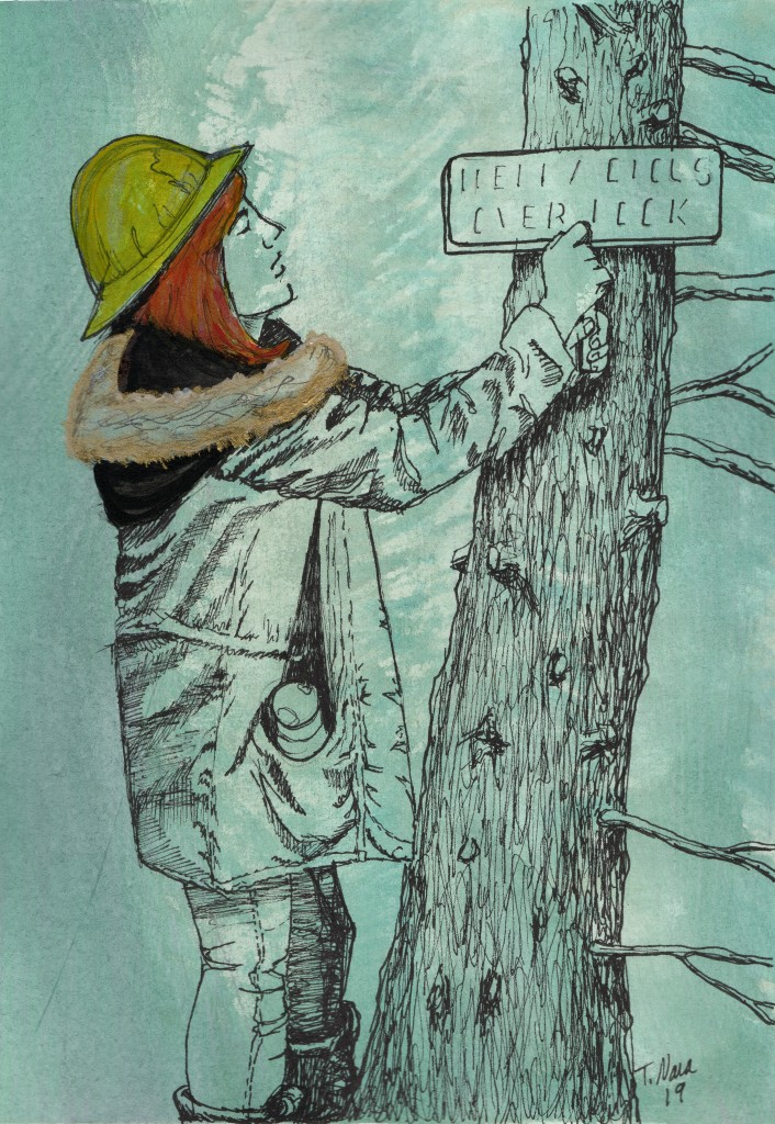 ink drawing of girl hanging a sign on a tree. yellow hat, orange hair.