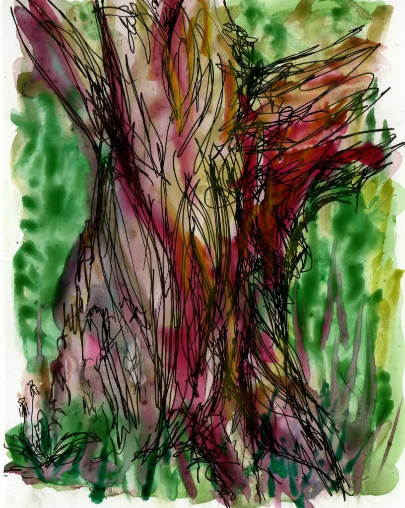 drawing of red tree trunk with green background
