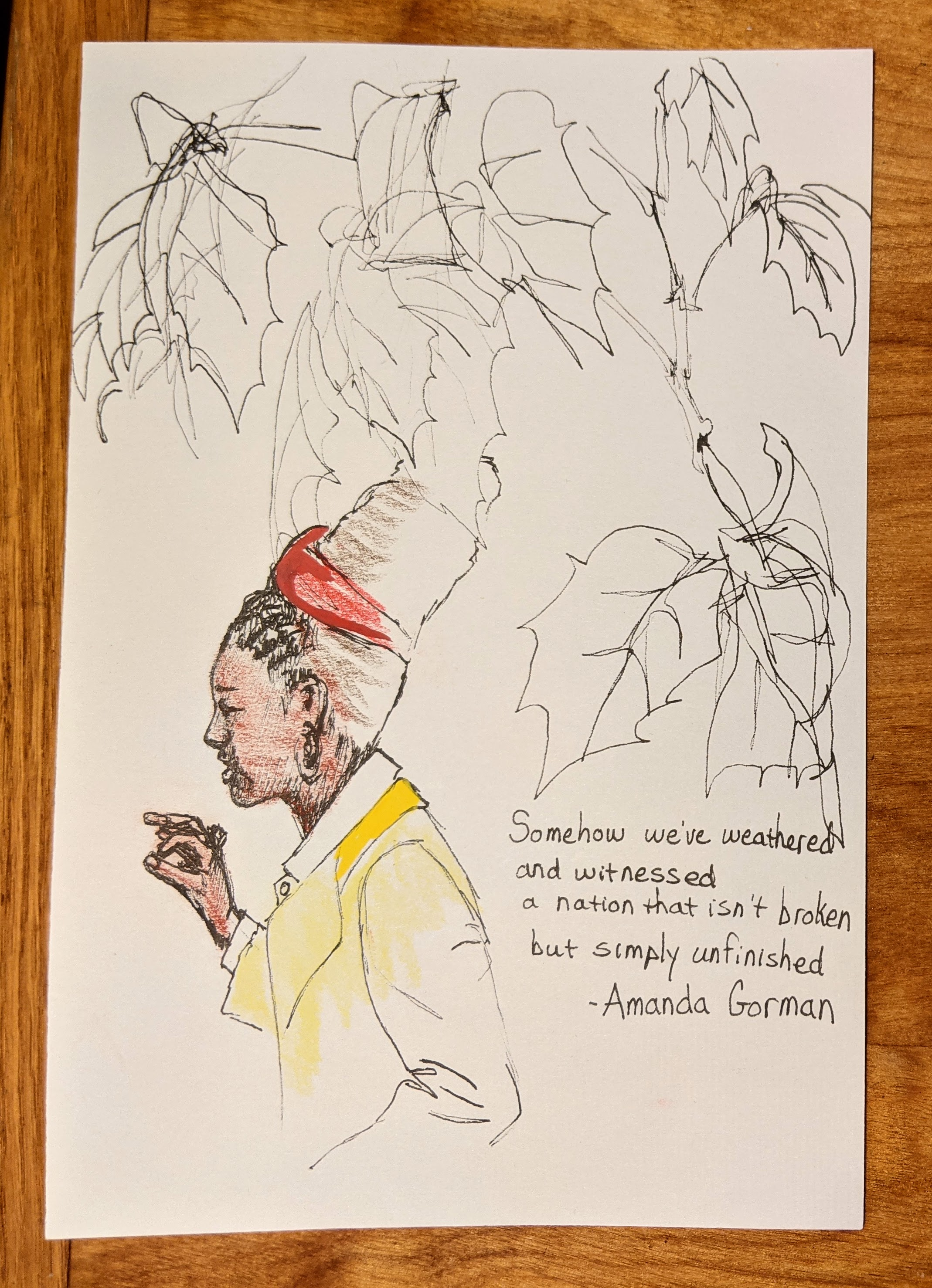 sketch of leaves and Amanda Gorman the inauguration poet.