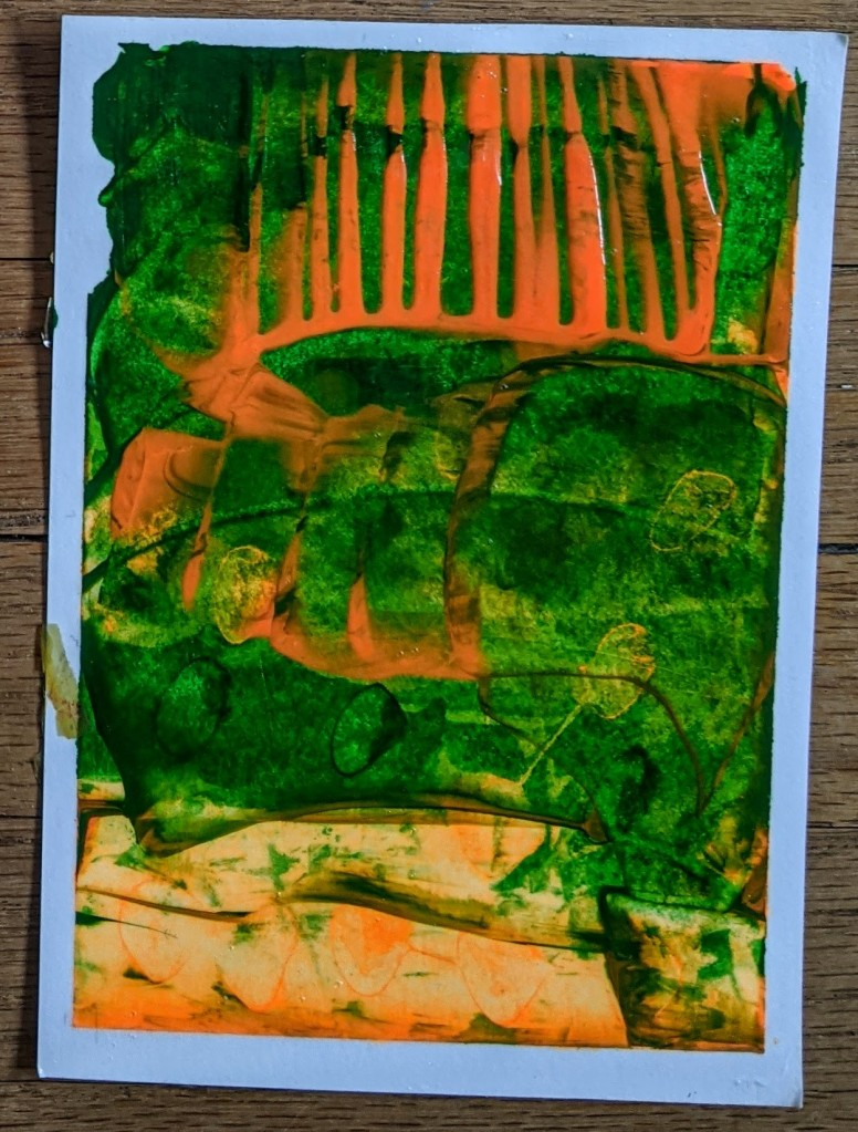 Green and orange abstract painting.