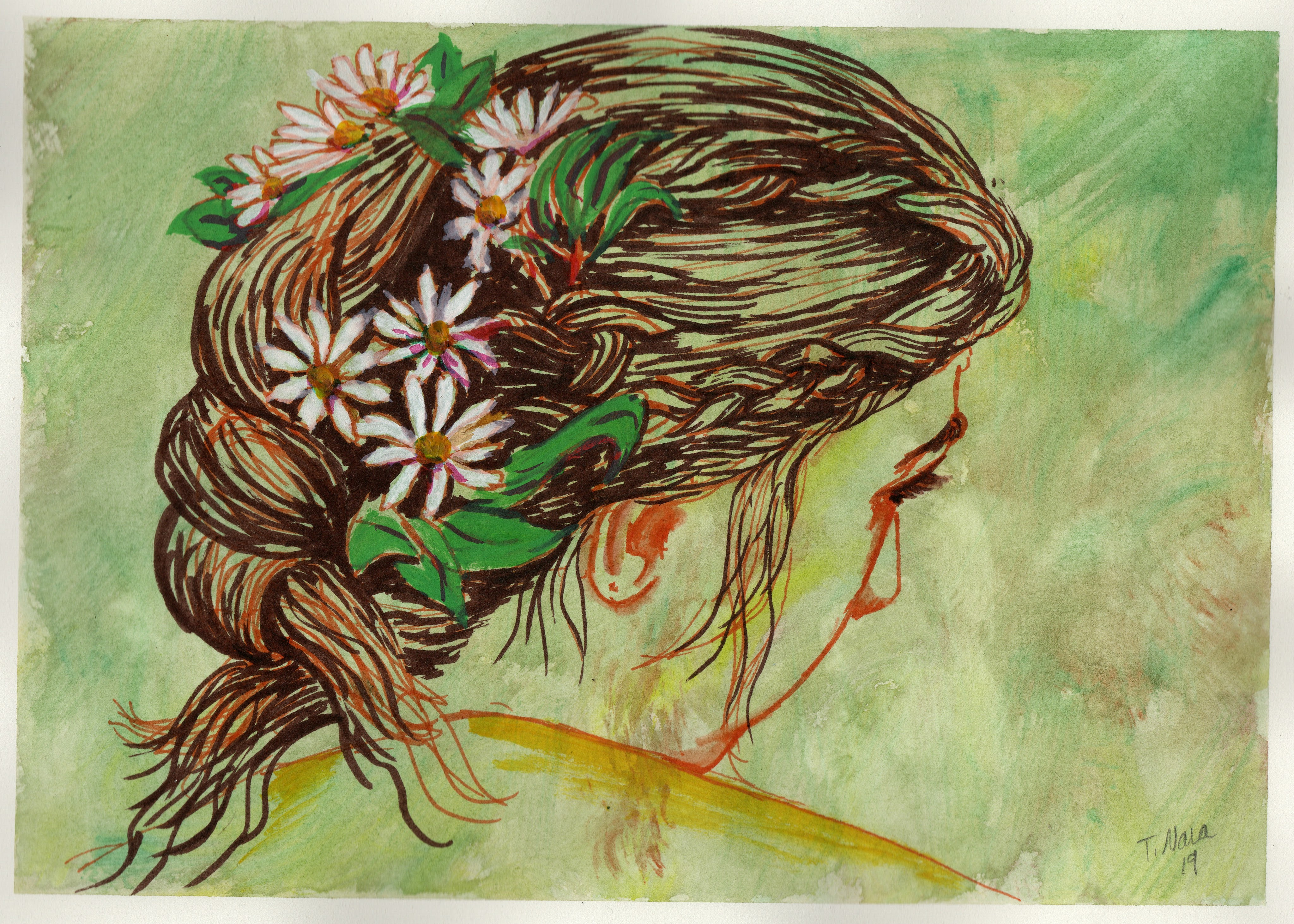 semi-abstract painting of a woman with flowers in her braided hair
