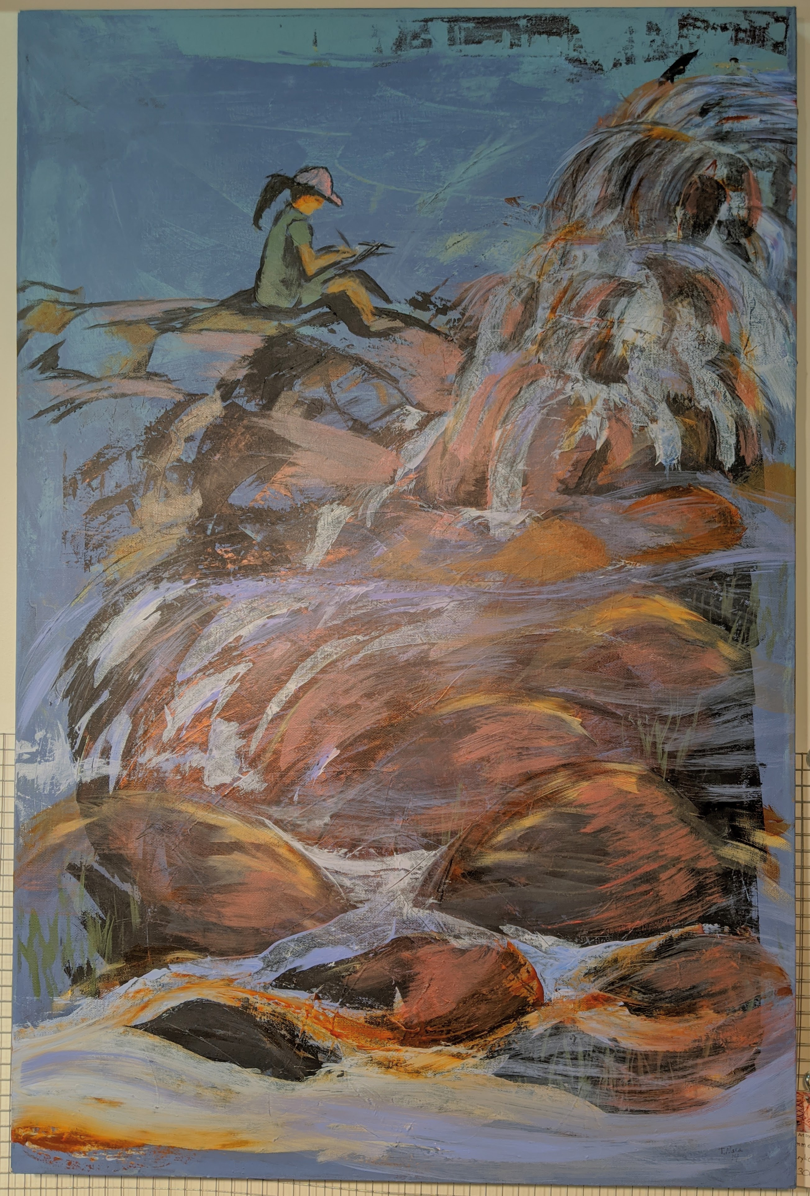 semi-abstract painting of a woman sitting on rocks next to a fast moving river
