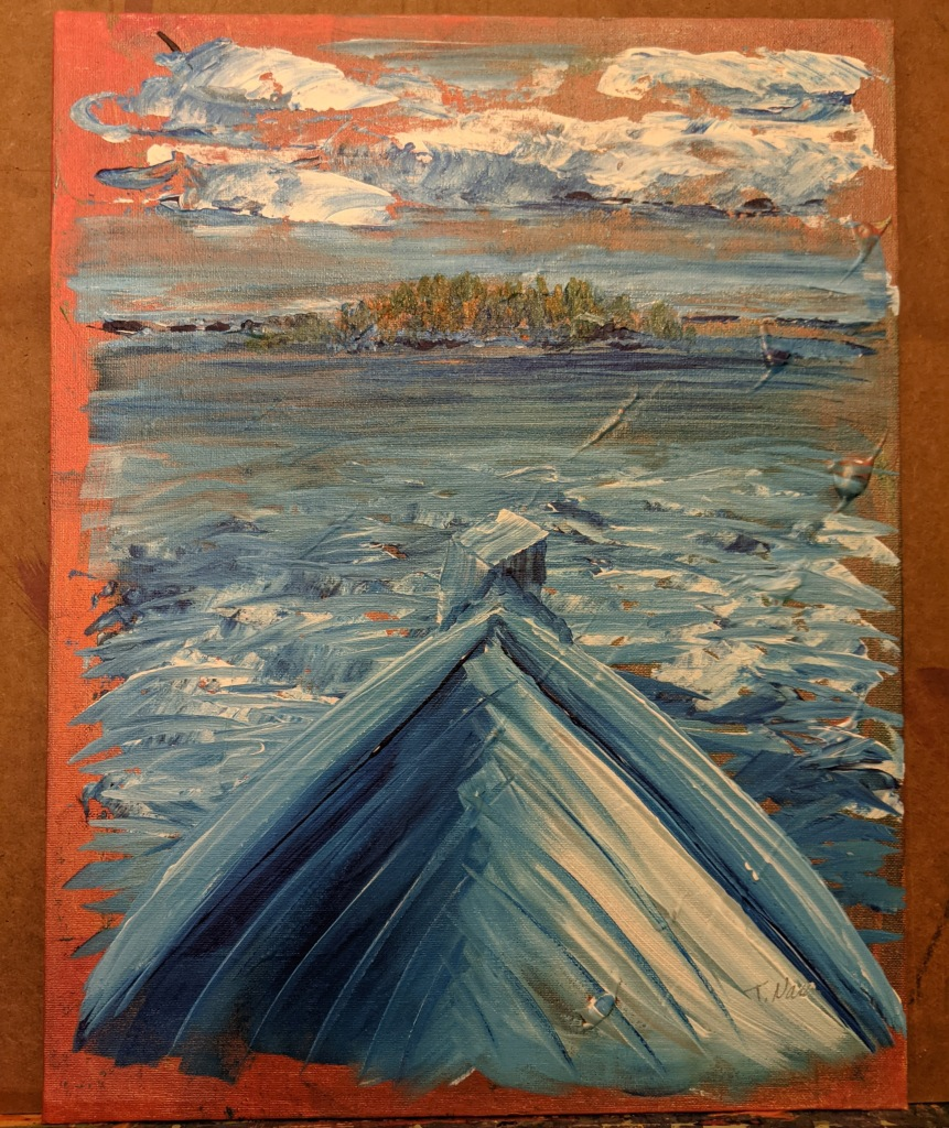 painting of the front of a boat pointed toward shore